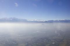 Descending through the smog into Santiago