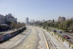 The Rio Mapocho running through urban Santiago