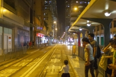 Waiting for the tram in Kennedy Town