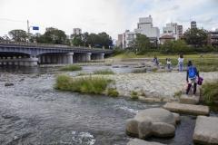 Kamo Ohashi Bridge at the confluence of the Kamo and Takano Rivers, Kyoto