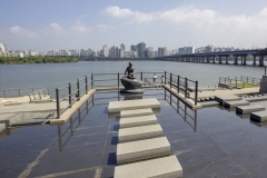 Replica of Copenhagen's famous Little Mermaid statue in Hangang Park, Yeouido