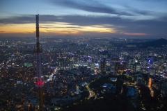 Seoul sunset viewed from N Seoul Tower on Namsan, Jung-gu