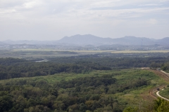 View of North Korea, Kaesong, the propaganda village, and the DMZ from Dora Observatory, Dorasan