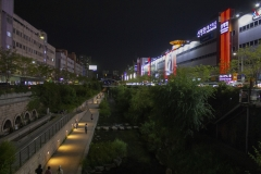 Cheonggyecheon Stream park near Dongdaemun Design Plaza at night, Seoul