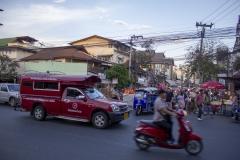 Street scene outside Wat Phra Singh, Chiang Mai, Thailand