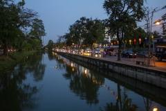 Chiang Mai moat at dusk, Thailand