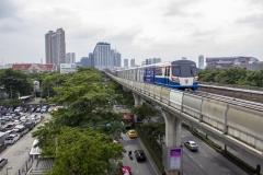 BTS train approaching Mo Chit station, Bangkok, Thailand