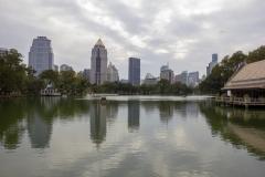 Bangkok skyline from Lumphini Park in Silom, Thailand