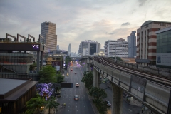Bangkok skyline as viewed from Ratchathewi BTS station, Bangkok, Thailand