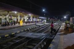 Waiting for the train back to Bangkok at Ayutthaya station, Thailand