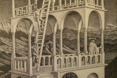 Belvedere, one of the many cool M. C. Escher prints housed in the Escher in Het Paleis museum, The Hague