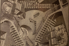 Relativity, one of the many cool M. C. Escher prints housed in the Escher in Het Paleis museum, The Hague
