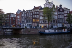 Prinsengracht at dusk near the Anne Frank House, Canal District, Amsterdam